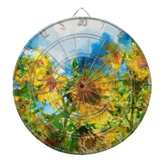 Watercolor Floral Sunflowers Dartboard