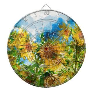 Watercolor Floral Sunflowers Dartboard
