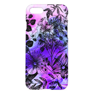 Watercolor Floral Sunset Pattern Violet & Pink iPhone 7 Case