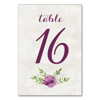 Watercolor Floral Table Numbers Table Card