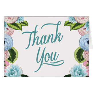 Watercolor Floral Thank You Note Cards