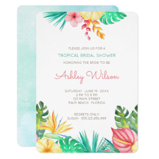 Watercolor Floral Tropical Bridal Shower 11 Cm X 16 Cm Invitation Card