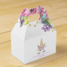 Watercolor Floral Unicorn Birthday Favour Box