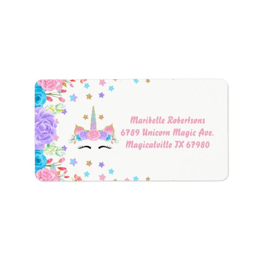 Watercolor Floral Unicorn Personalised Address Label