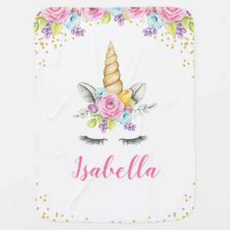 Watercolor Floral Unicorn Personalized Baby Blanket