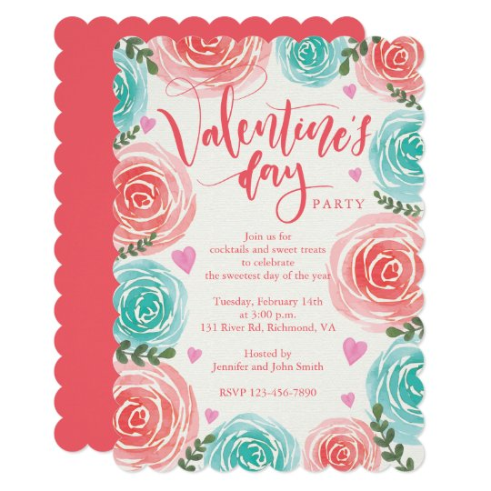 Watercolor Floral Valentines Day Party Card