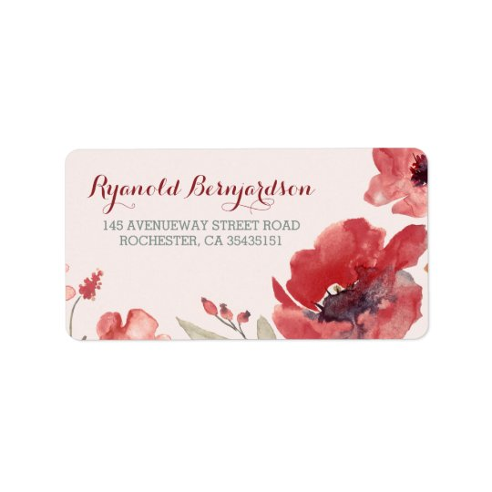 Watercolor Floral Wedding Address Label