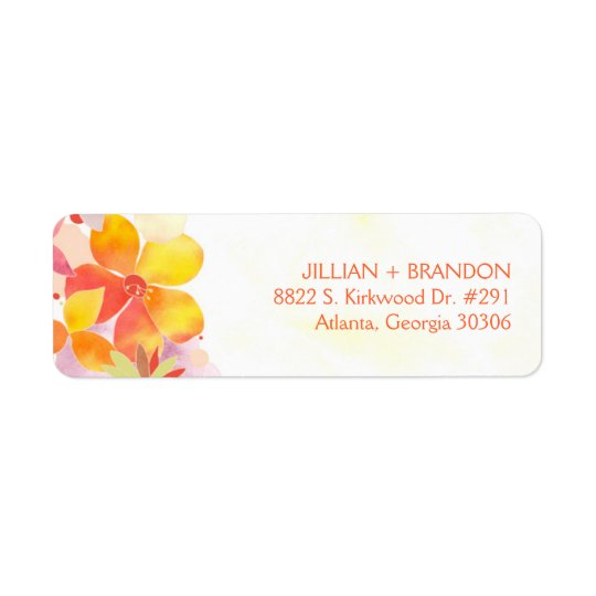 Watercolor Floral Wedding Address Return Address Label