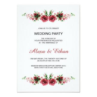 Watercolor Floral Wedding party invitation card