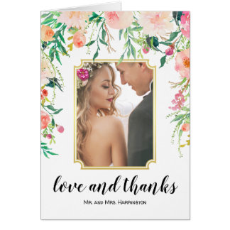 Watercolor Floral Wedding Photo Thank You Card