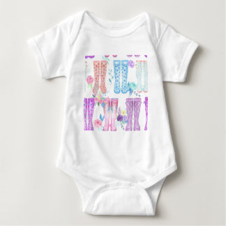 Watercolor floral wellington boots, rubber boots baby bodysuit