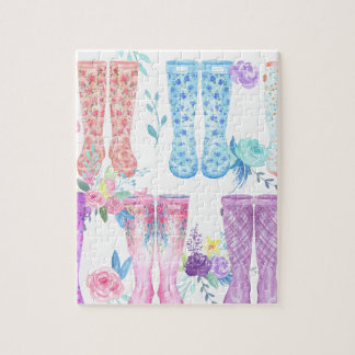 Watercolor floral wellington boots, rubber boots jigsaw puzzle