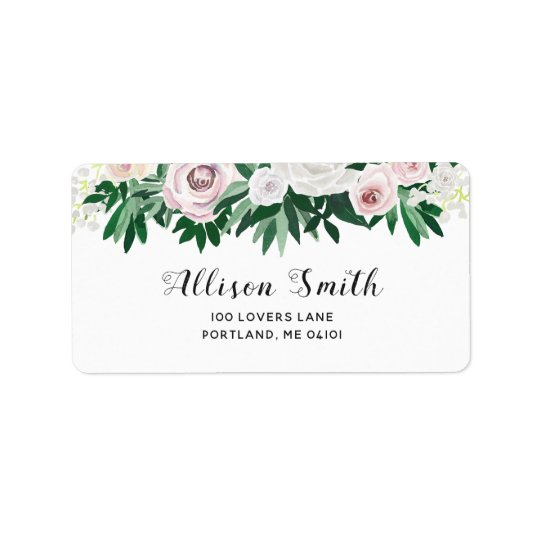 Watercolor Floral White And Green Address Labels