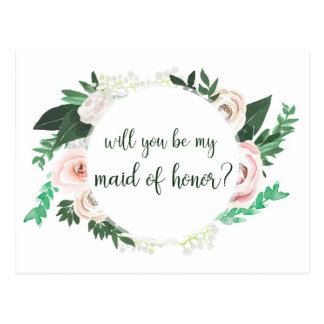 Watercolor Floral Will You Be My Maid Honor Card