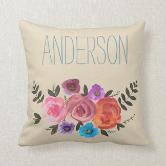 Watercolor Floral with Name Cream Rose Throw Pillow