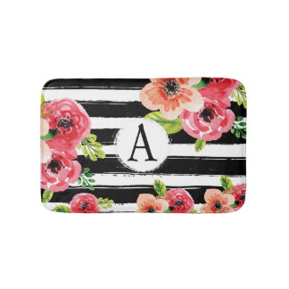 Watercolor Floral With Stripes And Monogram Bath Mat