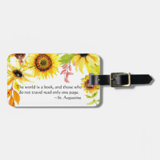 Watercolor Floral World Is a Book Travel Quote Luggage Tag