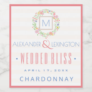 Watercolor Floral Wreath and Monogram Wedding Wine Label