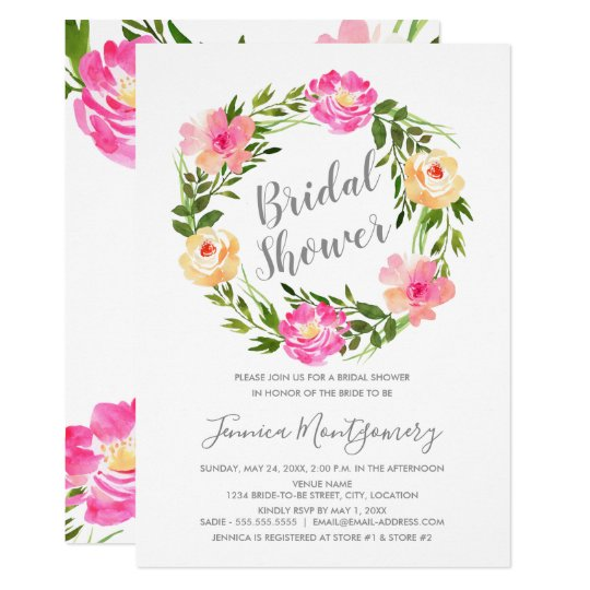 Watercolor Floral Wreath Bridal Shower Card