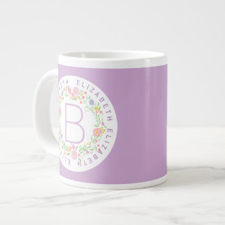 Watercolor Floral Wreath Circular Text Monogram Large Coffee Mug