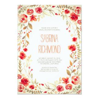 Watercolor Floral Wreath Cute Bridal Shower 13 Cm X 18 Cm Invitation Card