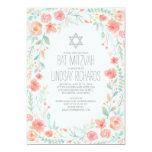 Watercolor Floral Wreath Garden Bat Mitzvah 13 Cm X 18 Cm Invitation Card