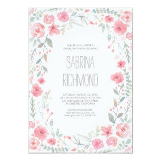 Watercolor Floral Wreath Garden Bridal Shower 13 Cm X 18 Cm Invitation Card