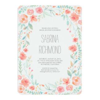 Watercolor Floral Wreath Garden Bridal Shower Card