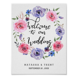 Watercolor Floral Wreath Handwritten Wedding Sign Poster