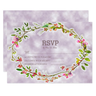 Watercolor Floral Wreath Lavender Wedding RSVP Card