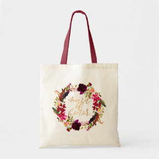 Watercolor floral wreath Maid of honor tote gift