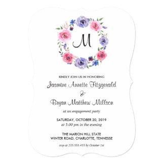 Watercolor Floral Wreath Monogram Engagement Party Card