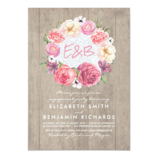 Watercolor Floral Wreath Rustic Engagement Party Card