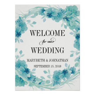 Watercolor Floral Wreath Wedding Welcome Poster