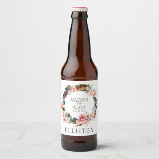 Watercolor Floral Wreath with Feathers | Wedding Beer Bottle Label