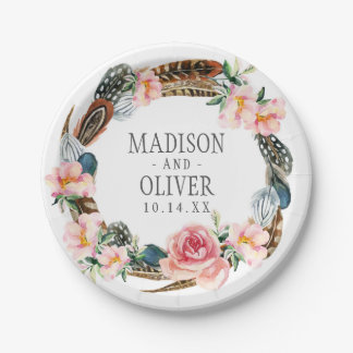 Watercolor Floral Wreath with Feathers | Wedding Paper Plate