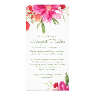 Watercolor Florals Funeral Thank You Card