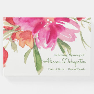 Watercolor Florals Memorial Funeral Guest Book