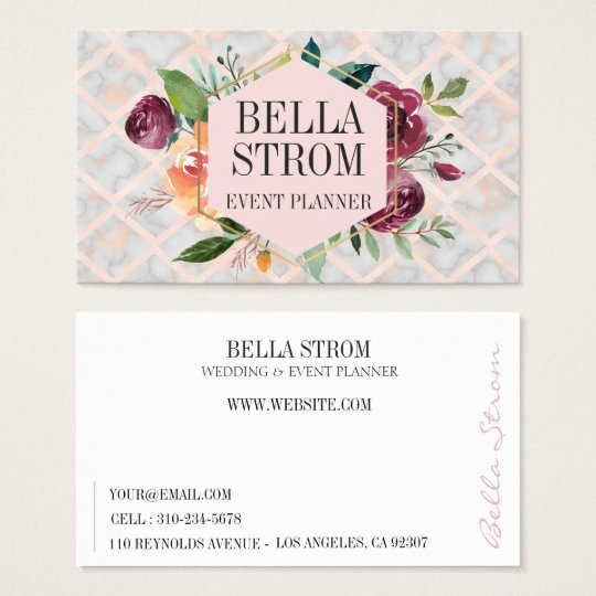 Watercolor Florals Pink Marble Logo Business Card