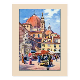 Watercolor Florence Piazza San Lorenzo Postcard