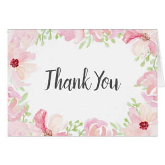 Watercolor  Flower Anemone Thank You Card