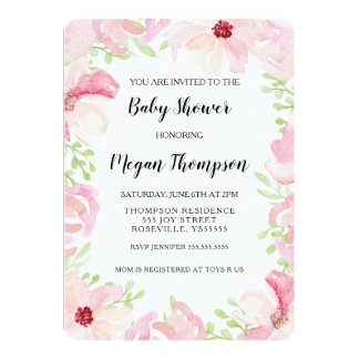 Watercolor Flower Baby Shower Invitation  Anemone