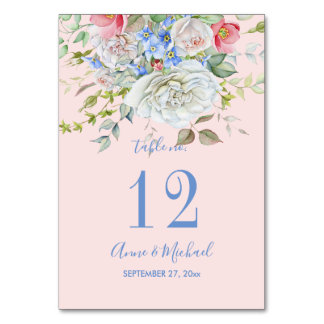 Watercolor Flower Bouquet Ivory Blue Any Color Card