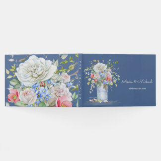 Watercolor Flower Bouquet Ivory Blue Any Color Guest Book