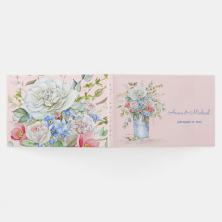 Watercolor Flower Bouquet Ivory Pink Any Color Guest Book