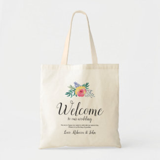 Watercolor Flower   Calligraphy Wedding Welcome Tote Bag