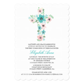 Watercolor Flower Cross First Holy Communion Card