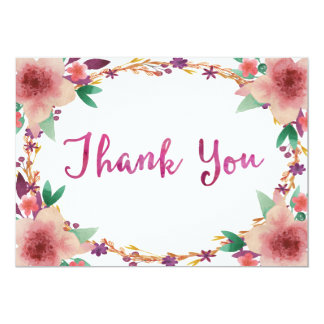 Watercolor Flower Cute Thank You card