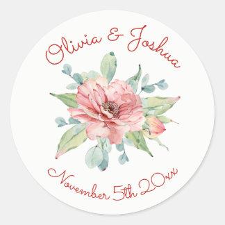 Watercolor Flower Design Wedding Stickers