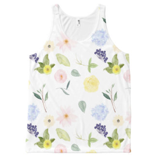 Watercolor Flower Garden All-Over Print Singlet